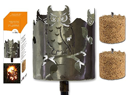 Fackel Gartenfackel Eule 140 cm Feuerschale Metall + Stiel + 2 x Brennmittel 63600 F77 Amsinck & Sell