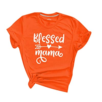 Winsummer Blessed Mama T-Shirt for Women Letter Printed Short Sleeve Tops Mom Life Shirt Graphic Tee Blouse at Women's Clothing store
