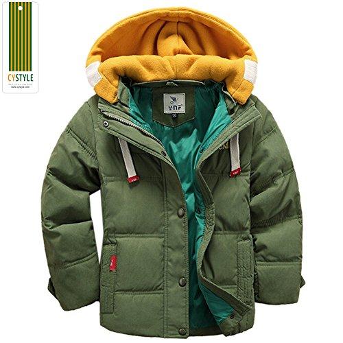 Cystyle Kinder Daunenjacke für Jungen Wintermantel Down Jacket (EU 134/140(Etikett 140), Grün)