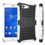 [SCIMIN]Sony Xperia Z3 Mini/Compact Case, Heavy Duty Dual Layer Protection / Shockproof / Drop Resistance Hybrid Rugged Case Cover with Kickstand for Sony Xperia Z3 Mini / Compact (White)