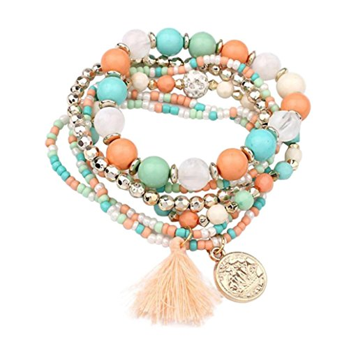 Aromatherapy Wisdom (Molyveva Bohemia Wind Beaded Bracelet Women Multilayer Hand Woven Wisdom Coin Tassel Bracelet Jewelry (Green))