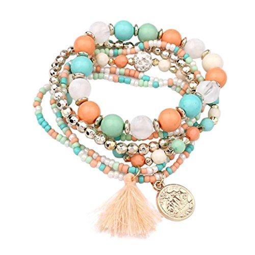 Wisdom Aromatherapy (Molyveva Bohemia Wind Beaded Bracelet Women Multilayer Hand Woven Wisdom Coin Tassel Bracelet Jewelry (Green))