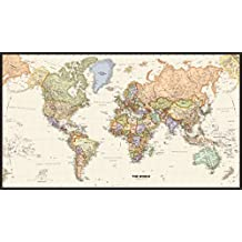 Map Shops Huge Framable World Wall Art Poster, 42x73. Great Gift For Global History & Travel Buffs. Classic, Incredibly Detailed Poster is Beautifully Printed on Premium Paper With UV Resistant Ink