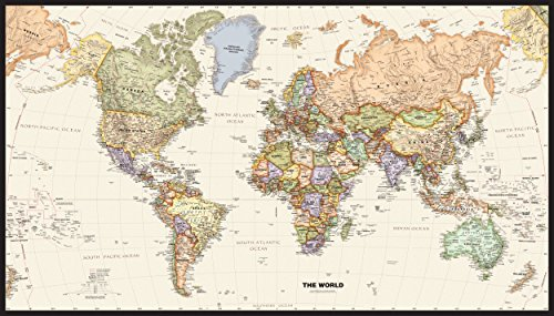 Map Shops Huge Framable World Wall Art Poster, 42x73. Great Gift For Global History & Travel Buffs. Classic, Incredibly Detailed Poster is Beautifully Printed on Premium Paper With UV Resistant ()