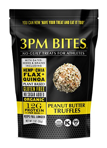 3PM BITES TRUFFLES - USDA Organic, Plant Based, Vegan, Paleo, Non-GMO, No Added Sugar, Superfoods and Grains - Great tasting on the go snack treats for everyone (Peanut Butter)