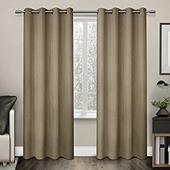 exclusive home curtains crete textured jacquard thermal grommet top window curtain panel pair camel