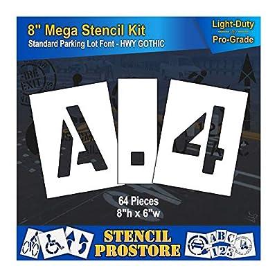 """Pavement Stencils - 8 inch MEGA Alpha/NUM Set - (64 Piece) - 8"""" x 6"""""""