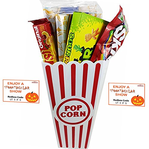Spooktacular Movie Night Gift Basket ~ With Popcorn, Candy and 2 Free Redbox Movie Rentals (Sour Patch Kids)