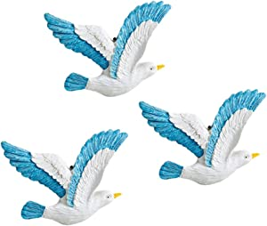 IMIKEYA 3pcs Seagulls Wall Decor Resin Nautical Seagulls Birds Wall Hanging Decoration Nautical Seabirds Ornaments for Home Wall Door
