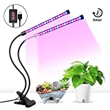 Grow Lights for Indoor Plants,Grow Light with 3 Switch Modes,5 Dimmable Levels,3/6/12H Timer,18W 36 LED Bulbs Dual Head Timing Plant Lamp,Red and Blue Spectrum,Adjustable Gooseneck
