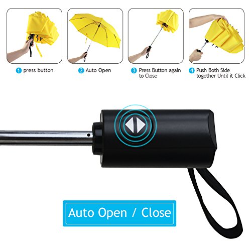 YUSOO Automatic Compact Travel Umbrella with Reverse,210T Auto Open Close Folding Strong Windproof UV Umbrella For Women Men,Yellow by YUSOO (Image #3)