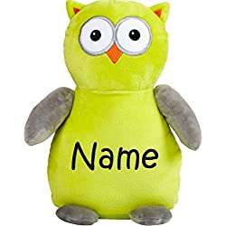 9daa6d5db88 Personalized Stuffed Neon Green and Grey Owl with Embroidered Name