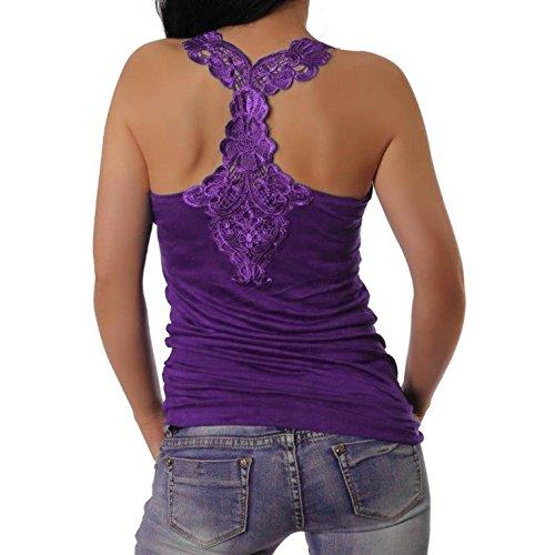 Muse - Camiseta de tirantes para mujer con bordado en la espalda morado