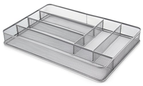 (ESYLIFE Large Cutlery Storage Flatware Tray, 6 Compartments, Silver)