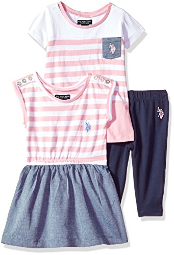 U.S. Polo Assn. Baby Girl's Knit Top, Fashion Top and Pant Set Pants, Dolman Sleeve Dress Cut Sew Tunic Prism Pink, 24M