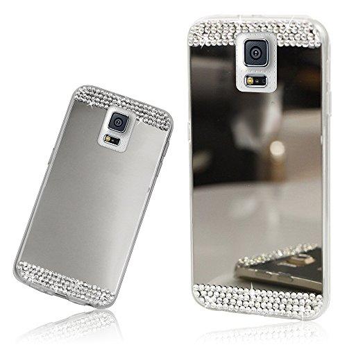 Xtra-Funky Serie Samsung Galaxy Note 3 de silicona TPU delgada caja del espejo brillante con diamantes de imitación de diamante de cristal brillante - Plata Plata