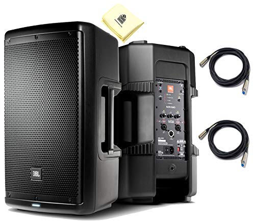 """JBL EON610 2-Way 10"""" Multipurpose Self-Powered Sound Reinforcement Powered Speaker PA Speaker (Pair) with JBL Waveguide Technology & 2 x Senor Microphone Cables & Zorro Sounds Polishing Cloth"""
