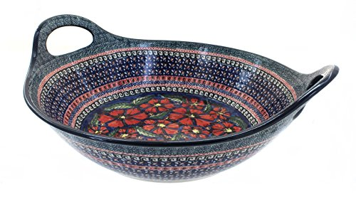 Polish Pottery Jungle Flower Deep Bowl with Handles by Zaklady