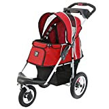ibiyaya Sturdy Dog Stroller - Cat Stroller for Heavy Everyday Use - Air Filled Tires with Suspensions (Red)