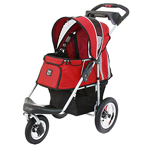 ibiyaya Sturdy Dog Stroller, Cat Stroller for Heavy Everyday Use, Air Filled Tires with Suspensions (Red)