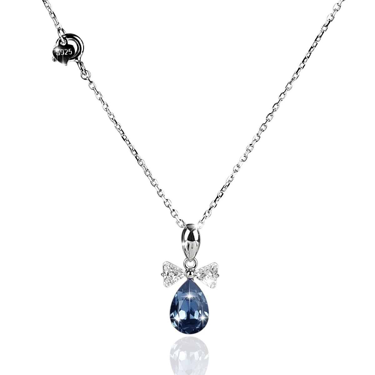 DONGZHOU 925 Sterling Silver Artifical Crystal Bow-Knot Teardrop Pendant Necklace Mothers Day Gift
