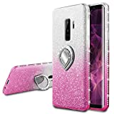 VEGO Galaxy S9 Plus Glitter Gradient Case with Ring Holder Kickstand for Women Girls Bling Diamond Rhinestone Sparkly Fasion Shiny Cute Protective Case for Samsung Galaxy S9 Plus (Pink Silver)