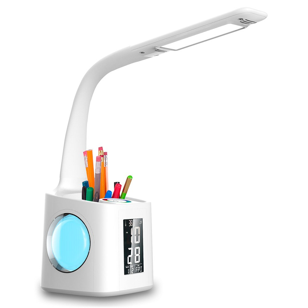Wanjiaone study led desk lamp with usb charging port&screen&calendar&color night light, kids dimmable led table lamp with pen holder&alarm clock, desk reading light for students,10W 2A by wanjiaone