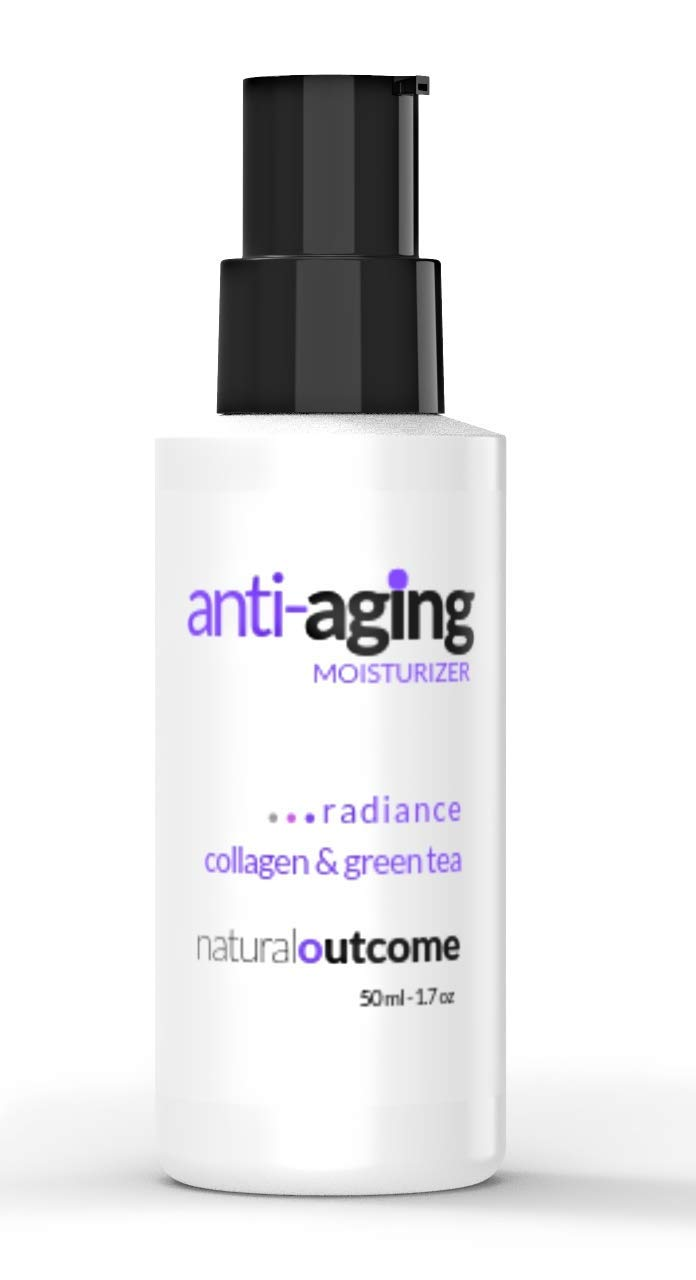 Anti Aging Face Moisturizer Cream Collagen & Green Tea by Natural Outcome Skincare - Hydrating Facial Lotion 1.7 oz