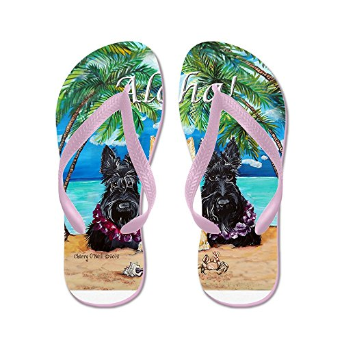 Cafepress Schotse Terriër Aloha Paradijs! - Slippers, Grappige Leren Sandalen, Strand Sandalen Roze