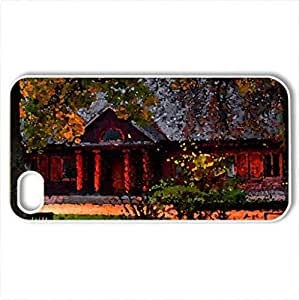 Autumn season - Case Cover for iPhone 4 and 4s (Watercolor style, White)