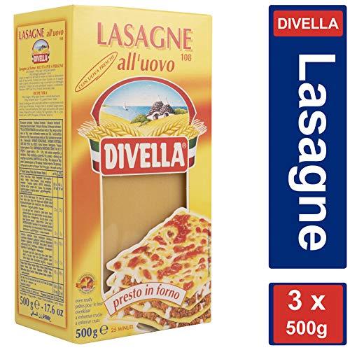 3x Divella Lasagne Uovo n. 108, 500g Vorratspacket lasagneplatten lasagneform klein 1-4 Personen
