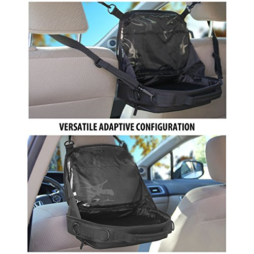 USA GEAR Car Headrest Tablet Holder Case with Accessory Pocket & Carrying Strap Attachment for Easy Mounting - Works with Apple iPad 4 , Samsung Galaxy Tab 4 , Dragon Touch X10 & More Tablets