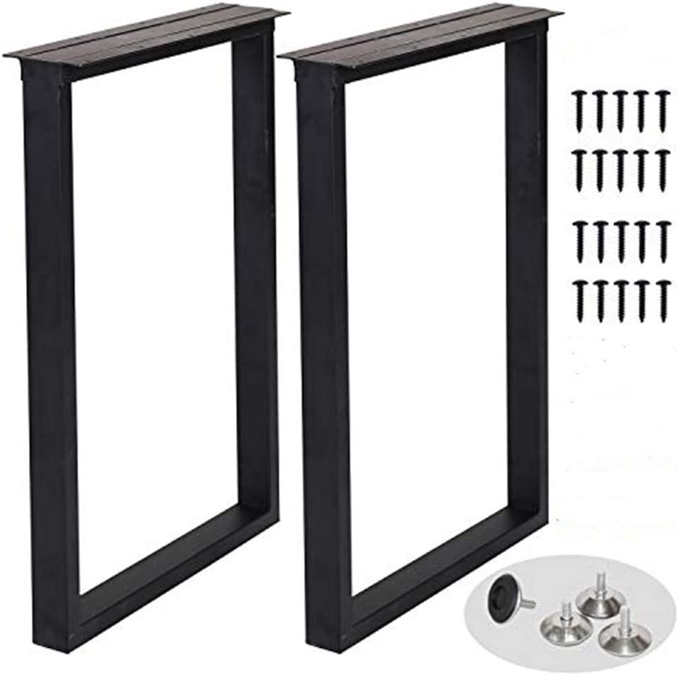 """Metal Table Legs Heavy Duty Square Tube Iron Desk Legs Set of 2 28"""" Height 18"""" Wide Industrial Furniture Legs,Dining Table Legs,Modern Coffee Table Legs,Bench Legs,Console Table Legs"""