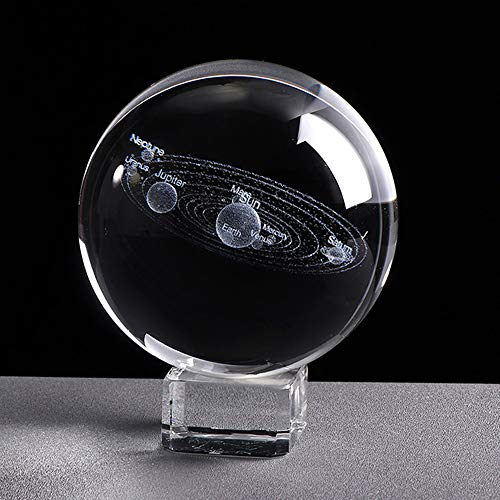 XinTX 3 Inch Solar System Crystal Ball,3D Miniature Planets Laser Engraved Ball Paperweight Sphere Home Decor Gift with Clear Base-with Eight Planets(Gift Box Package) (3 Inch, Solar System Ball)