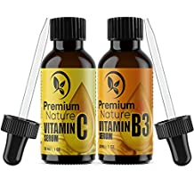 Vitamin B3 & Vitamin C Facial Serums - Niacinamide 5% & Vitamin C 20% - All Natural, Hydrating, & Anti-aging Powerhouse Duo For Skin, Face & Body - By Premium Nature