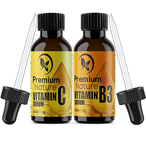 Vitamin B3 & Vitamin C Serum - Gift Set of Two Facial Serums Niacinamide 5% & Vitamin C 20% All Natural Skin Hydrating Pore Minimizer Anti Aging Dark Spot Acne Scar Remover Powerhouse Duo for Face