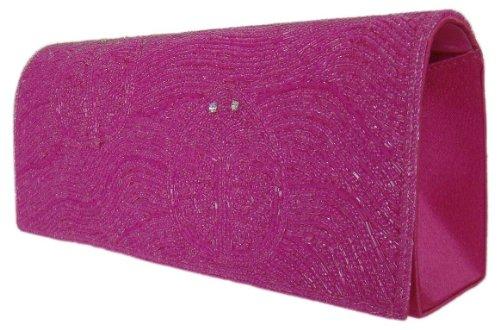 DIVA-MODE Fashion bolso con perlas, 24x 10cm, color rosa