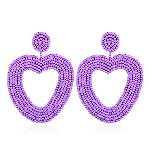 Statement Beaded Hoop Earrings, Drop Dangle Heart Earrings Bohemian for Women Girl Novelty Fashion Summer Accessories - VE135 Purple