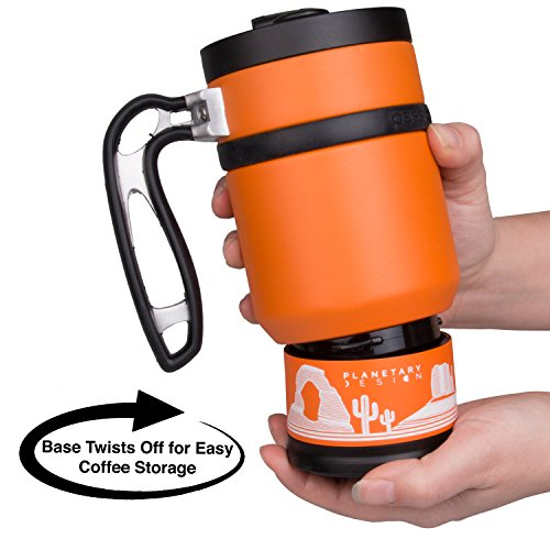 Double Shot 3.0 French Press Travel Coffee Mug, 16 oz - Brü-Stop Technology with Storage Base and Spill Proof Lid - Stainless Steel with Non-Slip Texture - Desert Orange