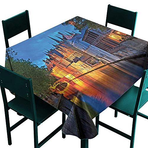 (Medieval Tablecloth Modern Night Shot of Middle Age Building Along The River Bruges Heritage Old Town Photo Multicolor Tablecloth for Square Table W 70