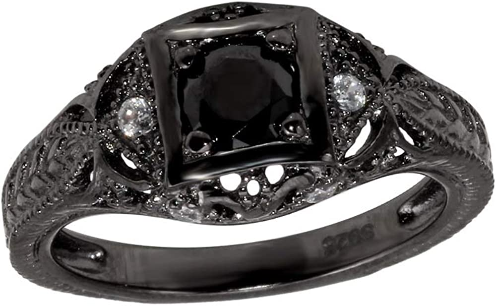 Inlay Cubic Zirconia Beaded Antique Ring Black Rhodium Plated Sterling Silver Size 9