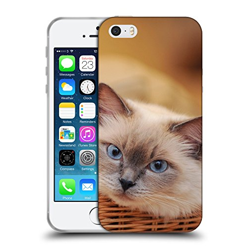 Just Phone Cases Coque de Protection TPU Silicone Case pour // V00004241 chat siamois dans le panier // Apple iPhone 5 5S 5G SE