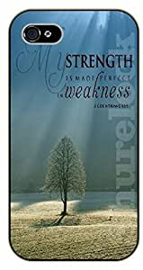 Diy For LG G2 Case Cover Bible Verse - My strength is made perfect in weakness. Tree - black plastic Verses, Inspirational and Motivational
