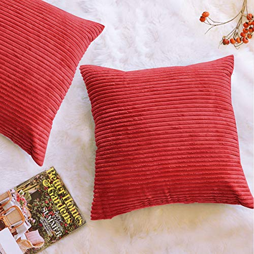 FOOZOUP Decorative Pillow Covers Corduroy Soft Soild Throw Pillow Covers Pack of 2 Square Cushion Cases Pillowcases for Sofa Bedroom Car 18 x 18 Inch Red