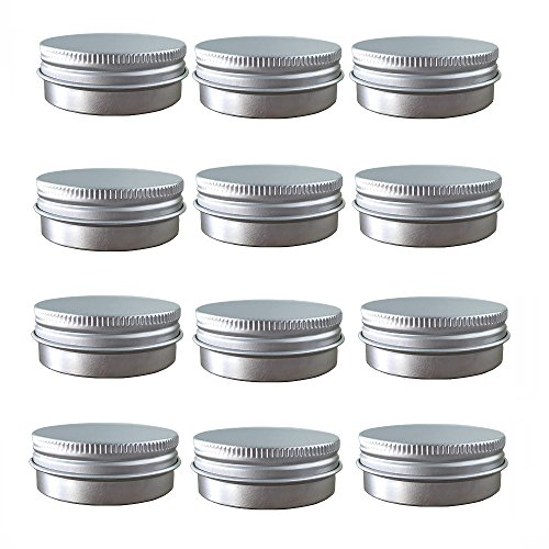Aluminum Tin Jars, Cosmetic Sample Metal Tins Empty Container Bulk, Round Pot Screw Cap Lid, Small Ounce for Candle, Lip Balm, Salve, Make Up, Eye Shadow, Powder (12 Pack, 1 Oz/30ml) ()