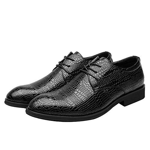 NIUWJ Hommes Gentleman Affaires Casual Mode Britannique Style Chaussures de Mariage de La Jeunesse de La Jeunesse Black 1pBicj3C