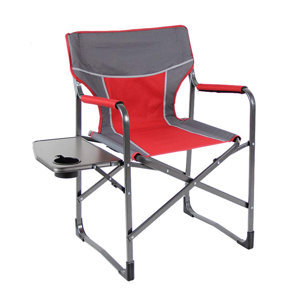 Outdoor Leisure Chair Multi-Function Director Chair Folding Chair Aluminum Fishing Chair, Outdoor Table with Table-red