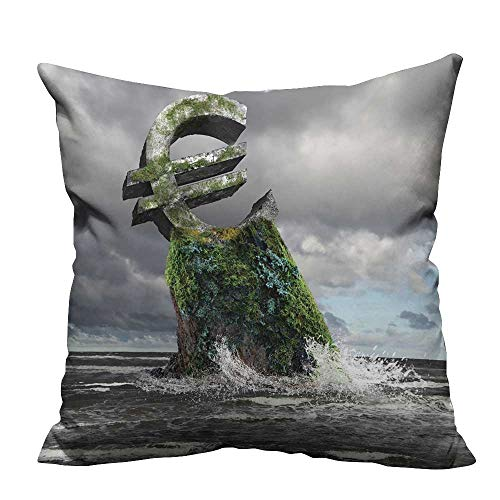 alsohome Pillowcase with Zipper Collage on Business and Money Theme with Currency Symbol Cushion Cotton and Linen 26x26 inch(Double-Sided Printing) ()