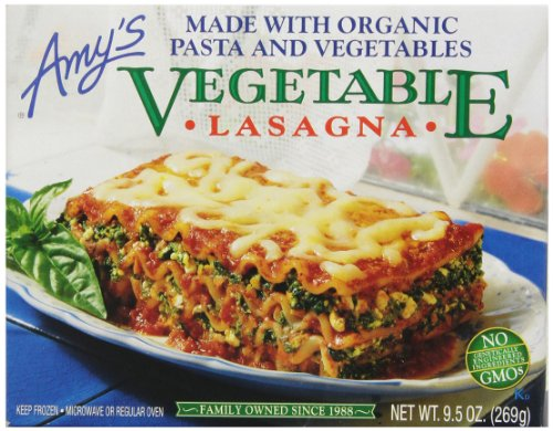 - Amy's Vegetable Lasagna, Made with Organic Pasta & Vegetables, Non GMO, 9.5-Ounce