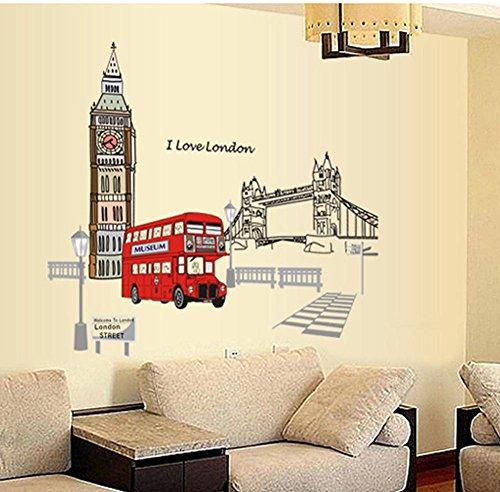 (BIBITIME British Style London Wall Decal Sticker Big Ben Tower Bridge Bus Street Lights Nursery Kids Room Decor)